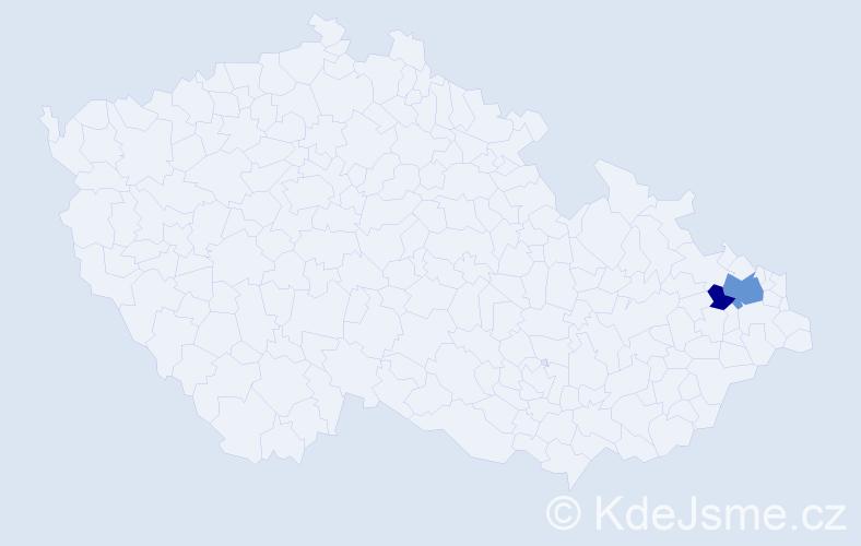 Příjmení: 'Haklík', počet výskytů 4 v celé ČR