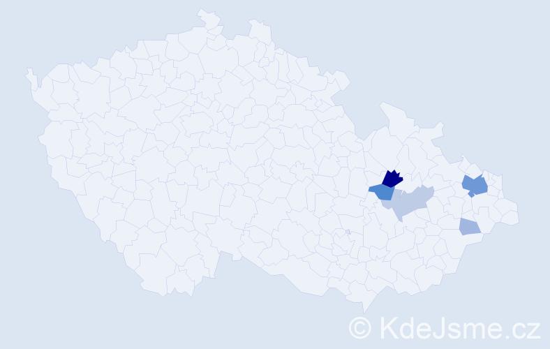 Příjmení: 'Habusta', počet výskytů 21 v celé ČR