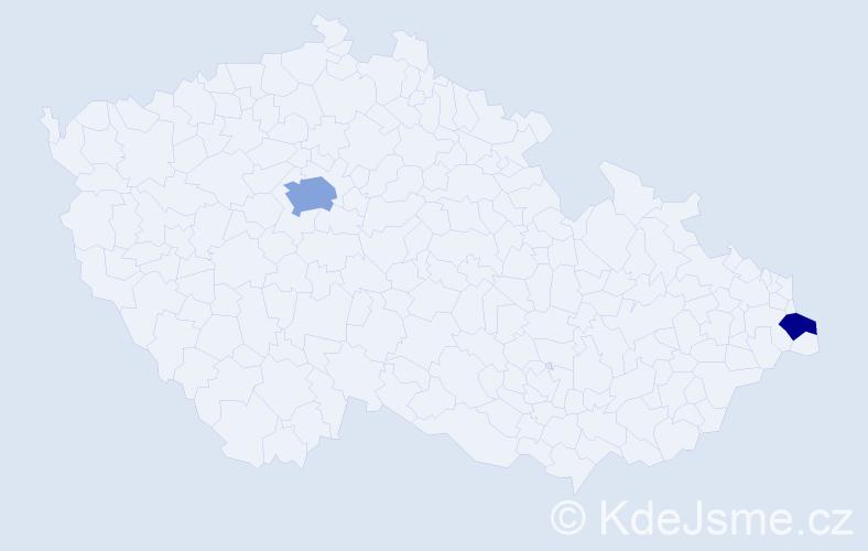 Příjmení: 'Dely', počet výskytů 4 v celé ČR