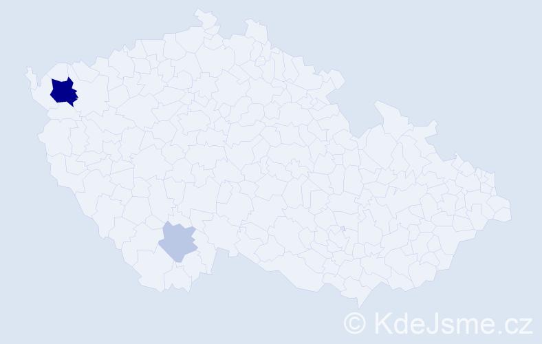 Příjmení: 'Ladžon', počet výskytů 7 v celé ČR
