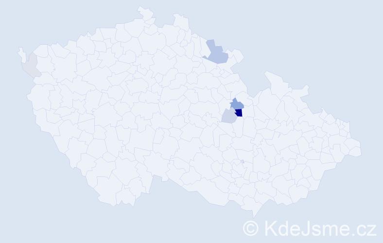 Příjmení: 'Jankele', počet výskytů 19 v celé ČR