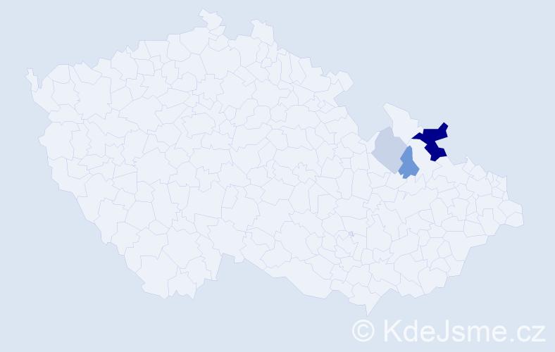 Příjmení: 'Jalamas', počet výskytů 19 v celé ČR