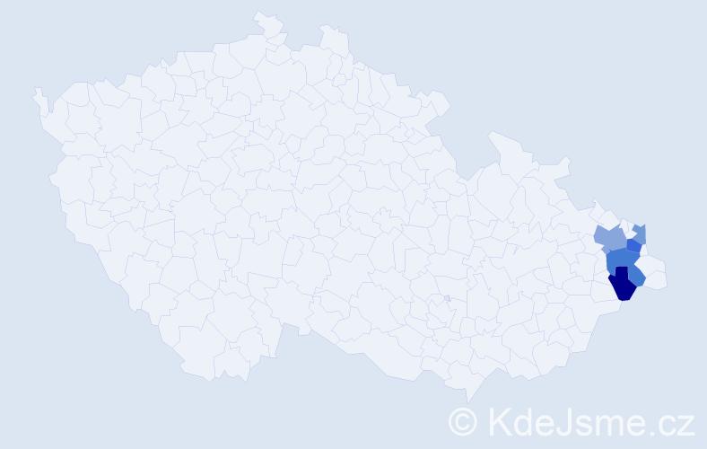 Příjmení: 'Fijaková', počet výskytů 8 v celé ČR