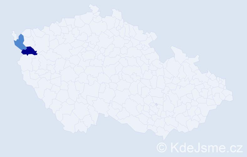 Příjmení: 'Déneš', počet výskytů 4 v celé ČR