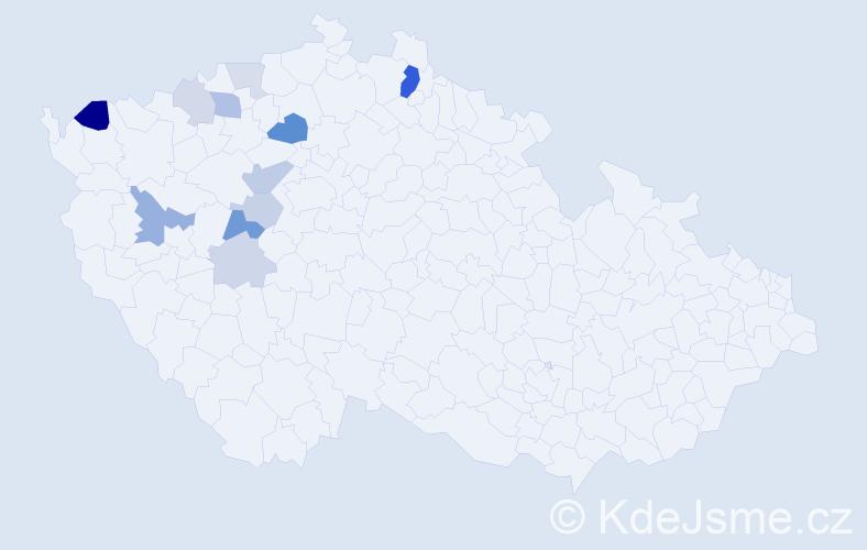 Příjmení: 'Hubatá', počet výskytů 25 v celé ČR