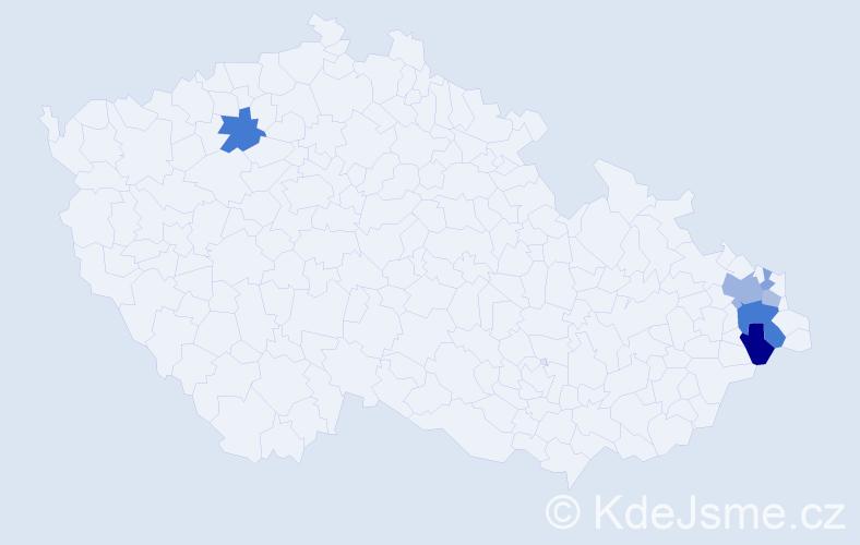 Příjmení: 'Čelinská', počet výskytů 13 v celé ČR