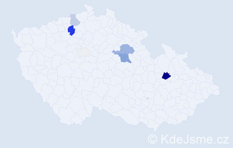 Příjmení: 'Fibigr', počet výskytů 21 v celé ČR