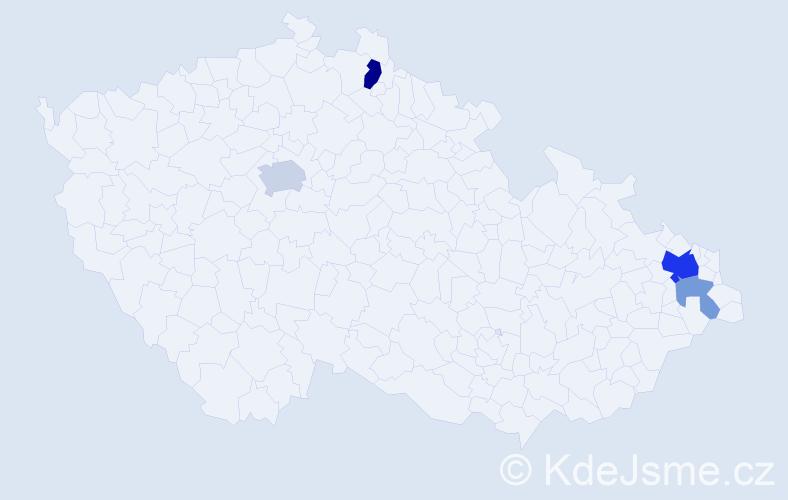 Příjmení: 'Čolasová', počet výskytů 10 v celé ČR