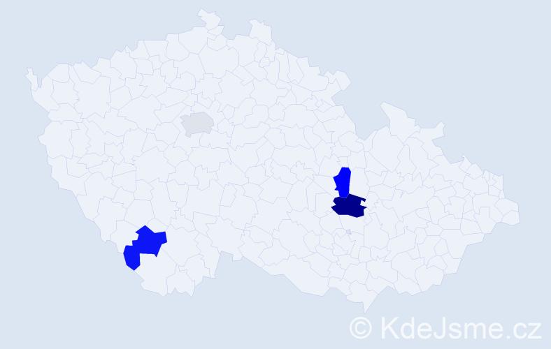 Příjmení: 'Kňazovický', počet výskytů 5 v celé ČR