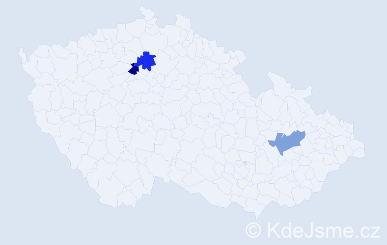 Příjmení: 'Jaromišová', počet výskytů 6 v celé ČR