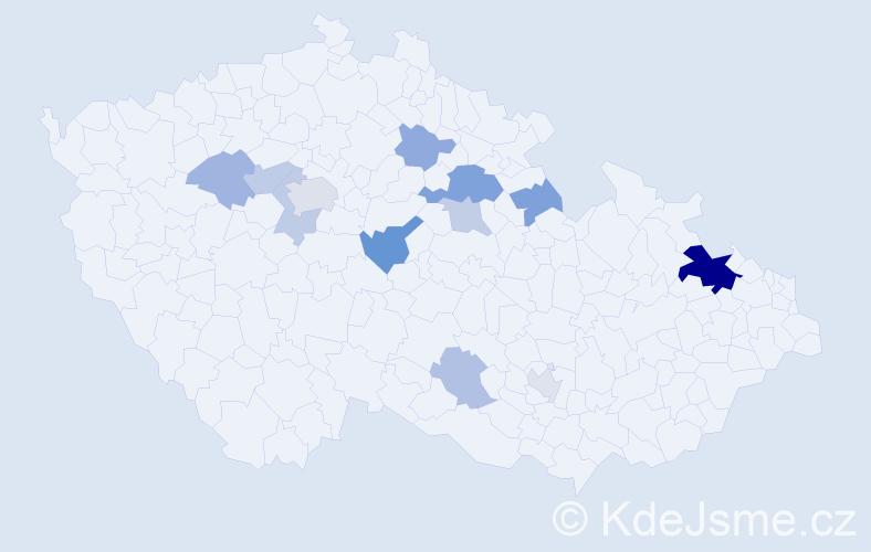 Příjmení: 'Hűbsch', počet výskytů 25 v celé ČR