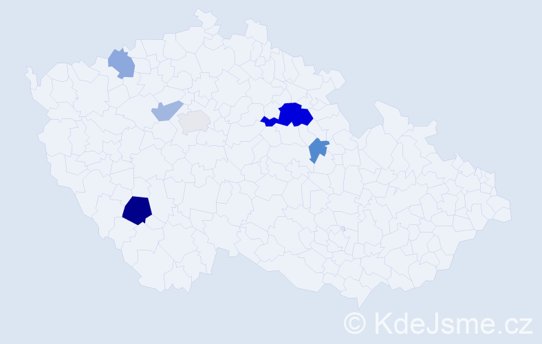 Příjmení: 'Bogusch', počet výskytů 13 v celé ČR