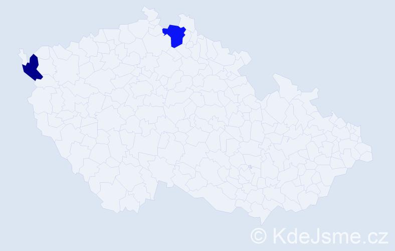 Příjmení: 'Duck', počet výskytů 5 v celé ČR