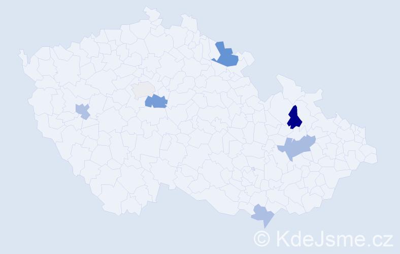 Příjmení: 'Cimbota', počet výskytů 13 v celé ČR