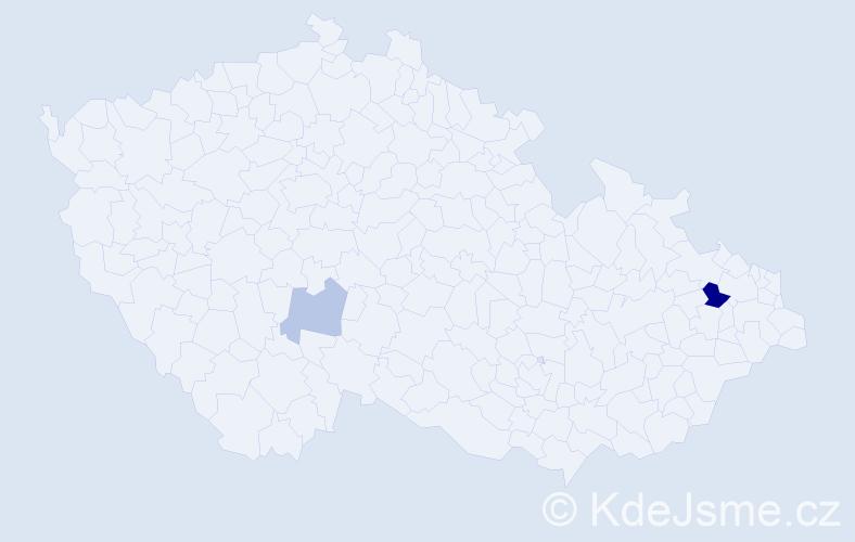 Příjmení: 'Hagmann', počet výskytů 4 v celé ČR