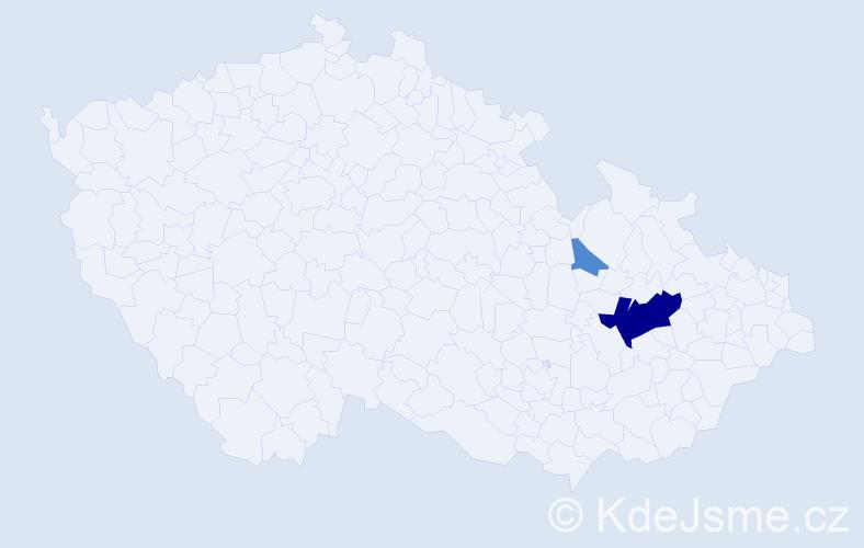 Příjmení: 'Čohan', počet výskytů 8 v celé ČR