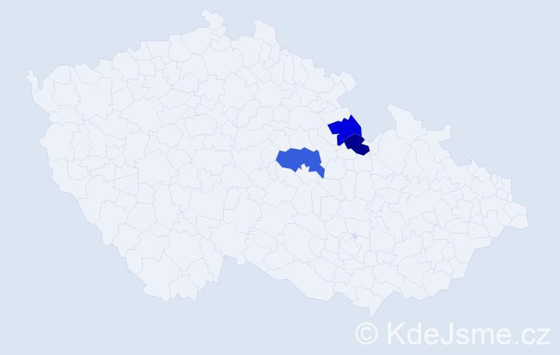 Příjmení: 'Lecák', počet výskytů 7 v celé ČR