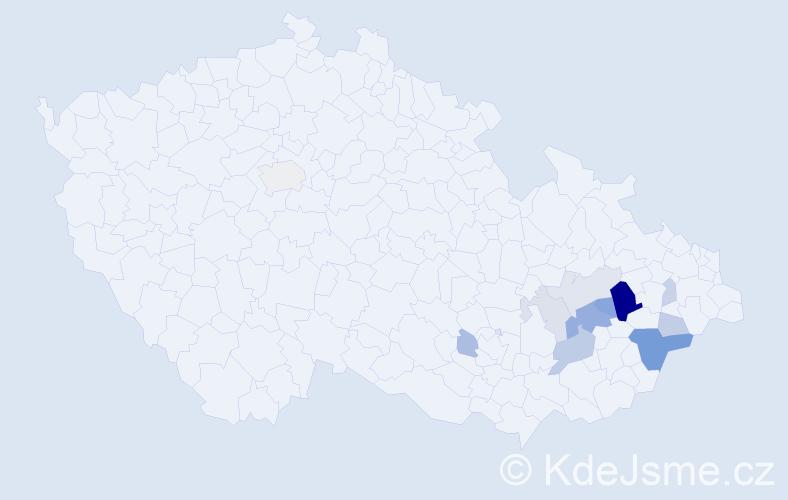 Příjmení: 'Důjková', počet výskytů 29 v celé ČR