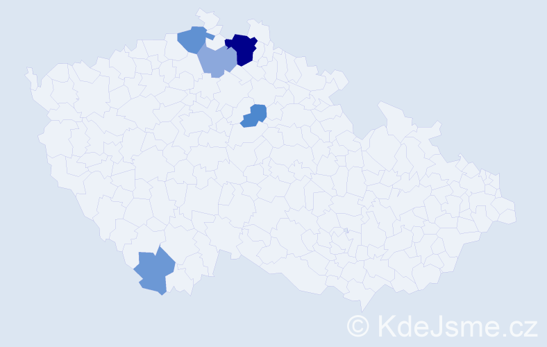 Příjmení: 'Jaderná', počet výskytů 12 v celé ČR