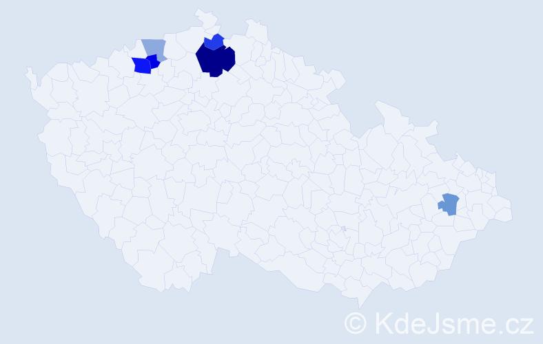 Příjmení: 'Habaň', počet výskytů 11 v celé ČR