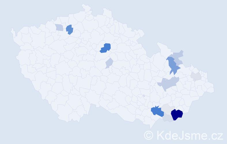 Příjmení: 'Čubík', počet výskytů 71 v celé ČR
