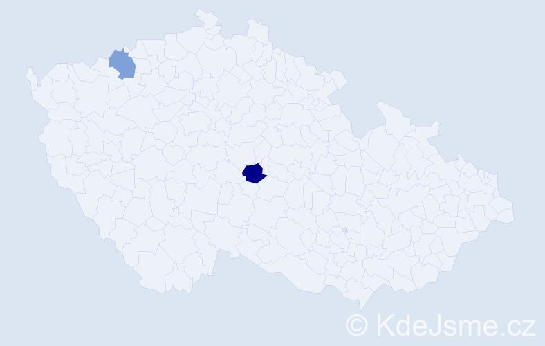 Příjmení: 'Ivanik', počet výskytů 2 v celé ČR