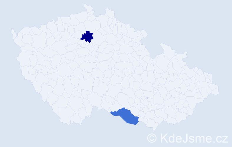 Příjmení: 'Enz', počet výskytů 2 v celé ČR