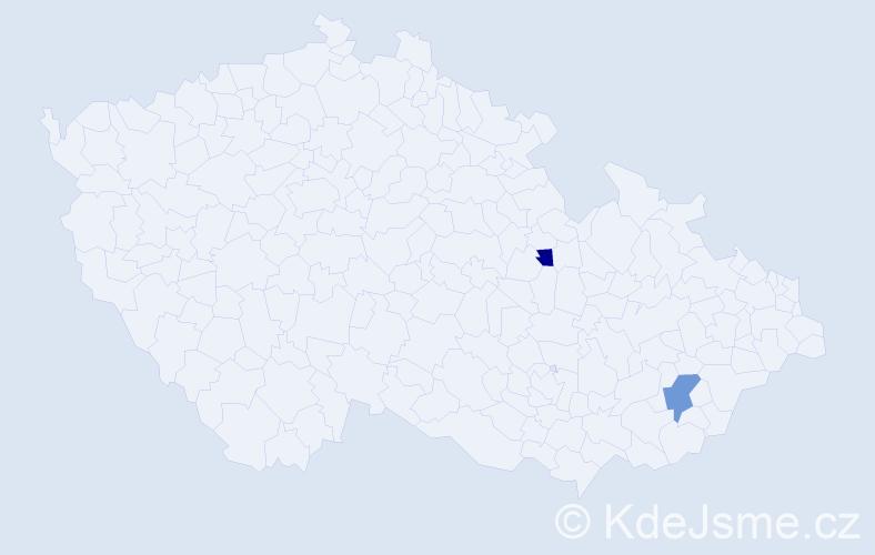 Příjmení: 'Klácel', počet výskytů 5 v celé ČR