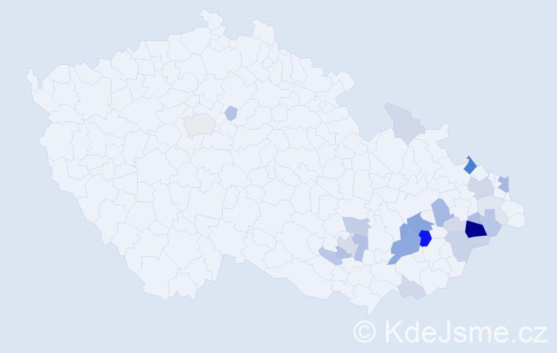 Příjmení: 'Diatková', počet výskytů 69 v celé ČR