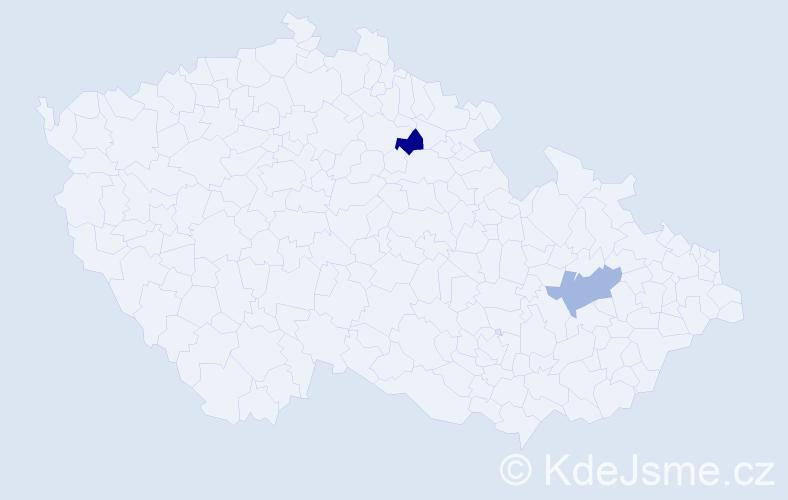 Příjmení: 'Kacanu', počet výskytů 2 v celé ČR