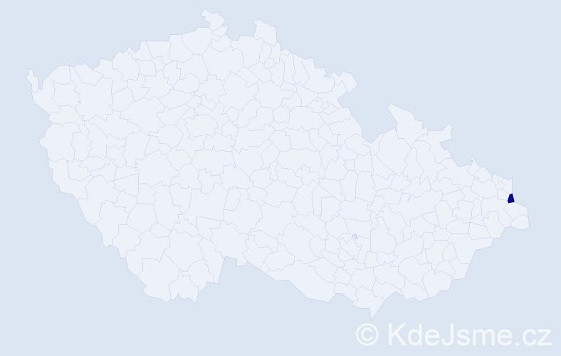 """Příjmení: '""""Cieślar Cholewiková""""', počet výskytů 1 v celé ČR"""