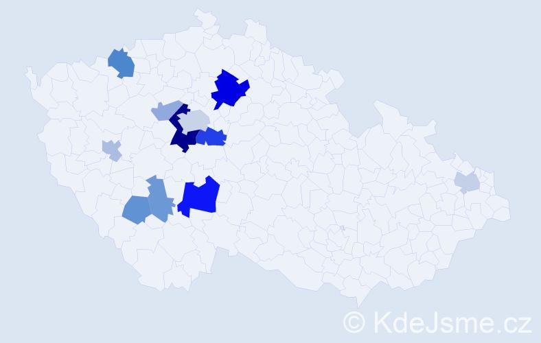 Příjmení: 'Dubay', počet výskytů 24 v celé ČR