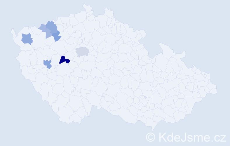 Příjmení: 'Čaboun', počet výskytů 20 v celé ČR