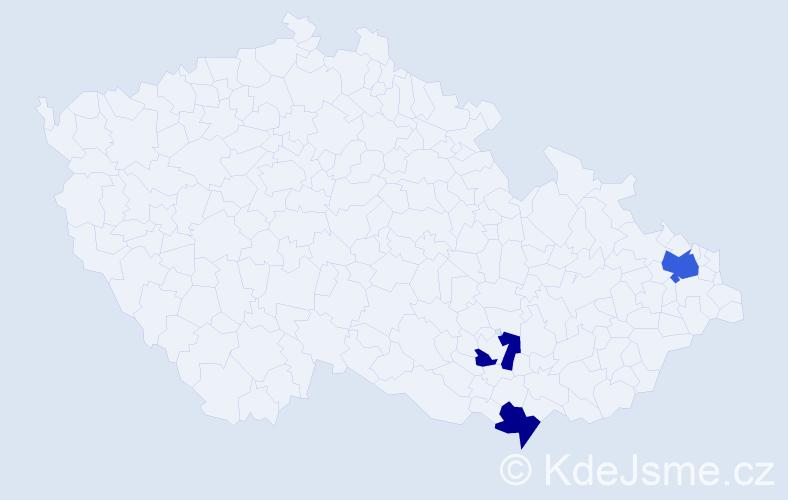 Příjmení: 'Fečanin', počet výskytů 4 v celé ČR