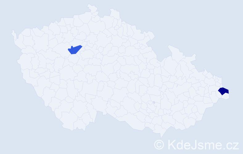 Příjmení: 'Čupálka', počet výskytů 2 v celé ČR