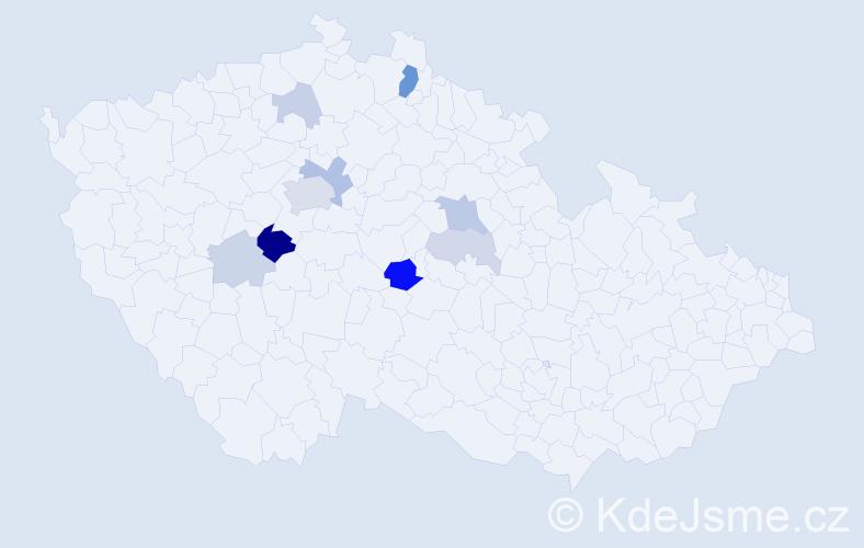 Příjmení: 'Kubista', počet výskytů 24 v celé ČR