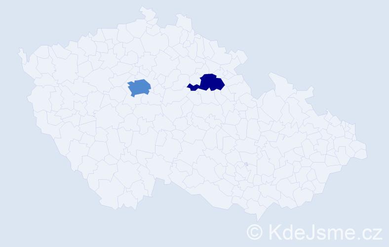 Příjmení: 'Freika', počet výskytů 4 v celé ČR