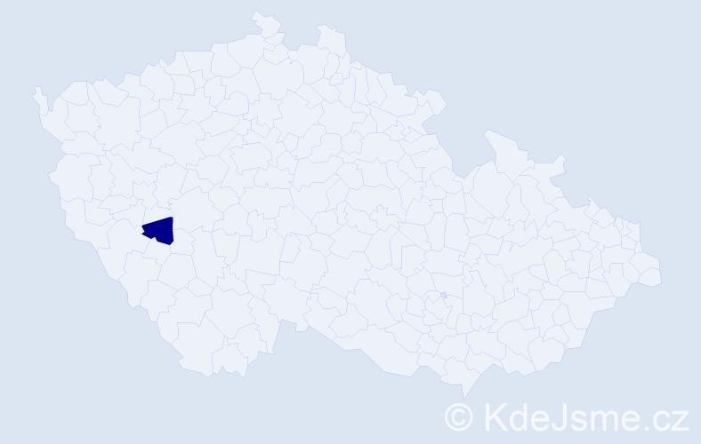 """Příjmení: '""""Korbová Procházková""""', počet výskytů 1 v celé ČR"""