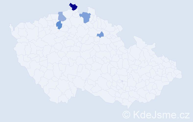 Příjmení: 'Lache', počet výskytů 17 v celé ČR