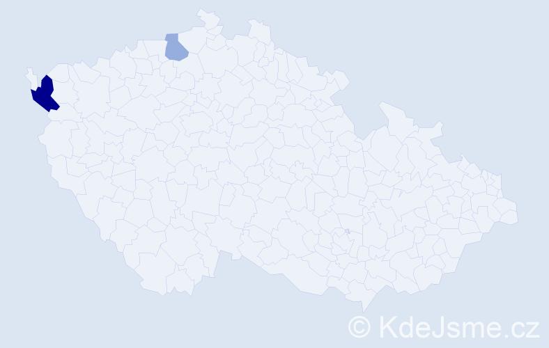 Příjmení: 'Hajmacherová', počet výskytů 4 v celé ČR