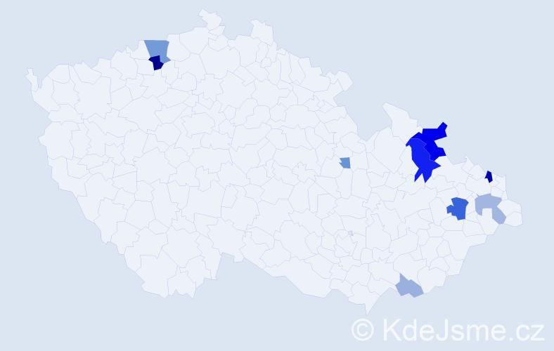 Příjmení: 'Jurašíková', počet výskytů 28 v celé ČR