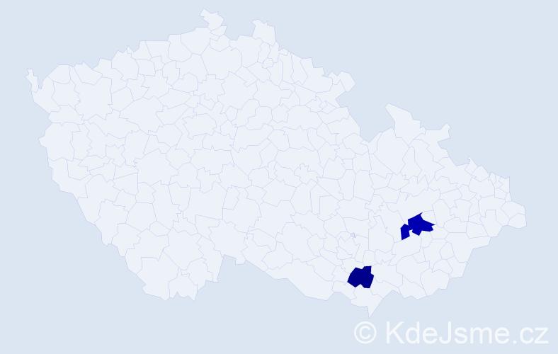Příjmení: 'Čmárová', počet výskytů 3 v celé ČR