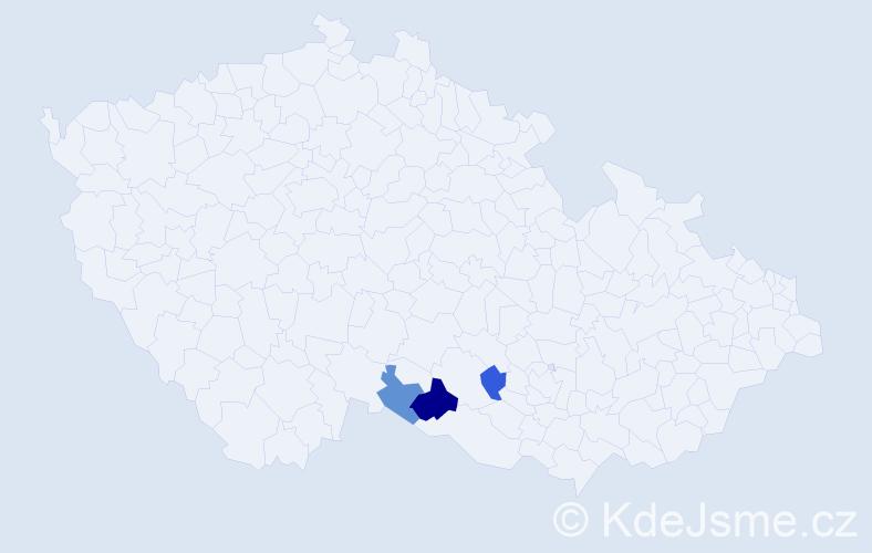 Příjmení: 'Kaderábek', počet výskytů 5 v celé ČR