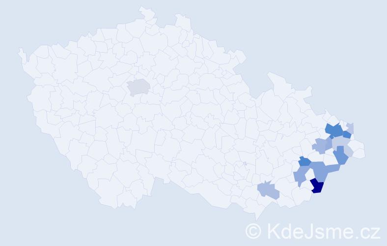 Příjmení: 'Lacný', počet výskytů 35 v celé ČR