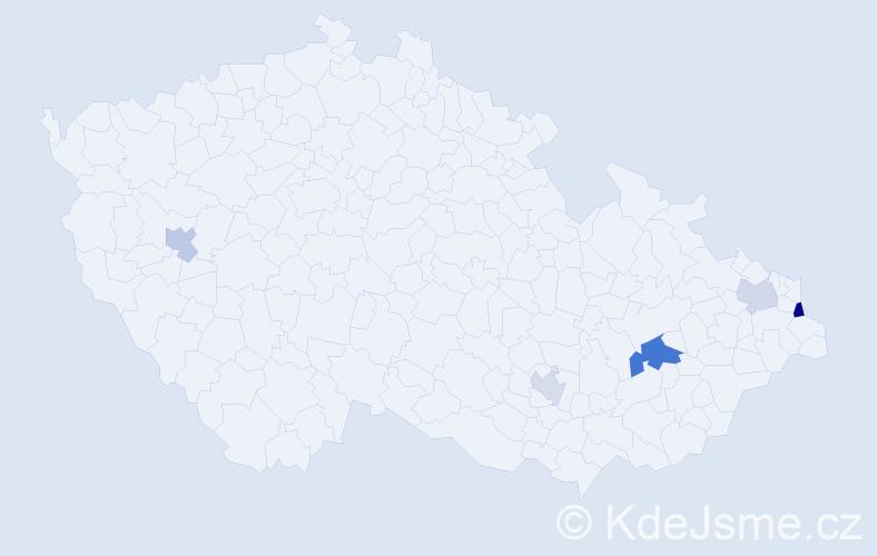 Příjmení: 'Čollák', počet výskytů 8 v celé ČR