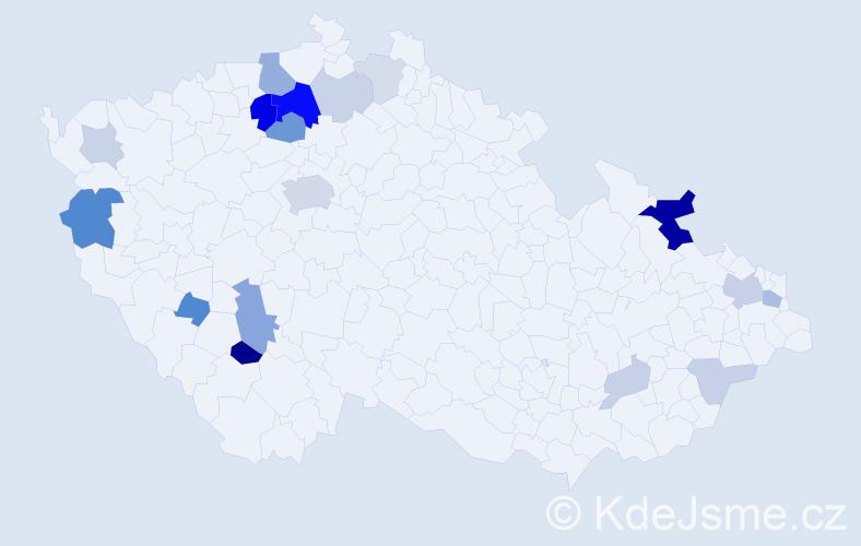 Příjmení: 'Ebelová', počet výskytů 49 v celé ČR