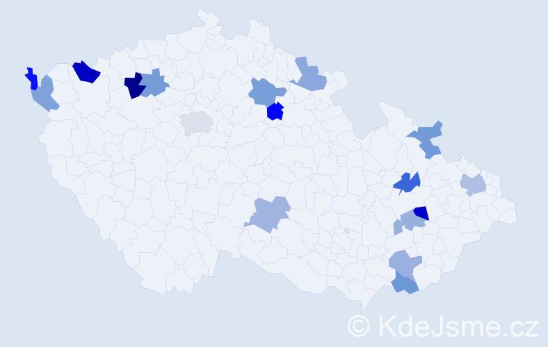 Příjmení: 'Arvayová', počet výskytů 21 v celé ČR