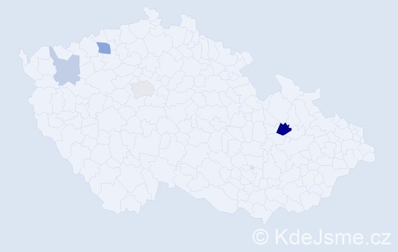 Příjmení: 'Čekelová', počet výskytů 8 v celé ČR