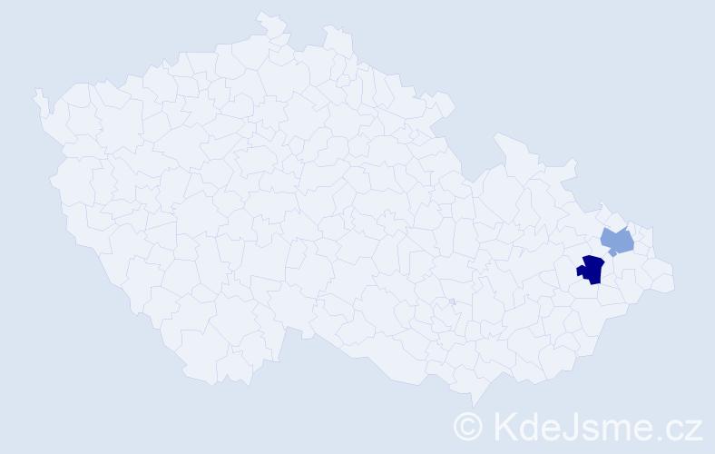 Příjmení: 'Gašperik', počet výskytů 4 v celé ČR