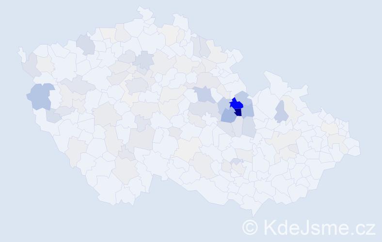 Příjmení: 'Vaňous', počet výskytů 380 v celé ČR